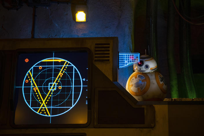 BB-8 greets guests inside the makeshift briefing room as part of Star Wars: Rise of the Resistance, the groundbreaking new attraction opening Dec. 5, 2019, inside Star Wars: Galaxy's Edge at Disney's Hollywood Studios in Florida and Jan. 17, 2020, at Disneyland Park in California that takes guests into a climactic battle between the Resistance and the First Order. (Matt Stroshane, photographer)