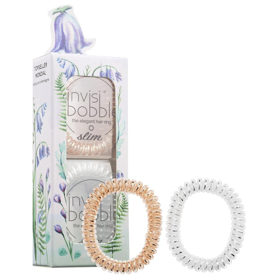 """<p>Perennially popular, the <a href=""""https://www.popsugar.com/buy/Invisibobble-Slim-Elegant-Hair-Ring---Spring-Florals-575434?p_name=Invisibobble%20Slim%20The%20Elegant%20Hair%20Ring%20-%20Spring%20Florals&retailer=sephora.com&pid=575434&price=16&evar1=bella%3Aus&evar9=47486817&evar98=https%3A%2F%2Fwww.popsugar.com%2Fbeauty%2Fphoto-gallery%2F47486817%2Fimage%2F47486832%2FInvisibobble-Slim-Elegant-Hair-Ring---Spring-Florals&prop13=api&pdata=1"""" class=""""link rapid-noclick-resp"""" rel=""""nofollow noopener"""" target=""""_blank"""" data-ylk=""""slk:Invisibobble Slim The Elegant Hair Ring - Spring Florals"""">Invisibobble Slim The Elegant Hair Ring - Spring Florals</a> ($16) is now packed together in a mixed set of six.</p>"""