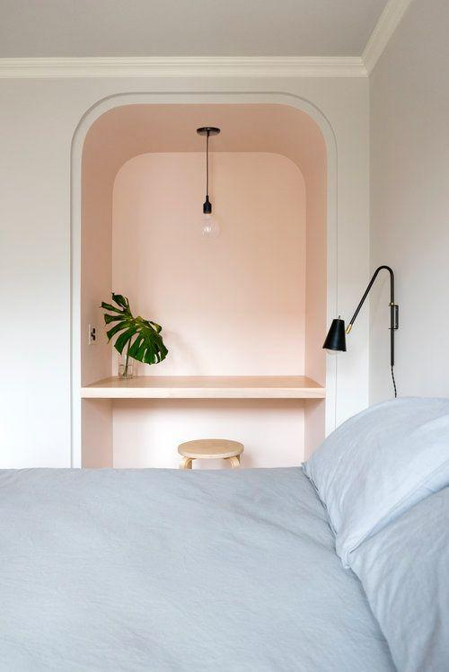 """<p>Because it's in an alcove, the desk in this bedroom feels totally separate from the rest of the space. Though an architectural nook can make a floating-shelf-desk hybrid look extra neat, a floating shelf in any old corner will do, too. Designed by <a href=""""https://www.shapelessstudio.com/"""" rel=""""nofollow noopener"""" target=""""_blank"""" data-ylk=""""slk:Shapeless Studio"""" class=""""link rapid-noclick-resp"""">Shapeless Studio</a>, each nook and cranny in this NYC apartment reaches its full potential.</p>"""