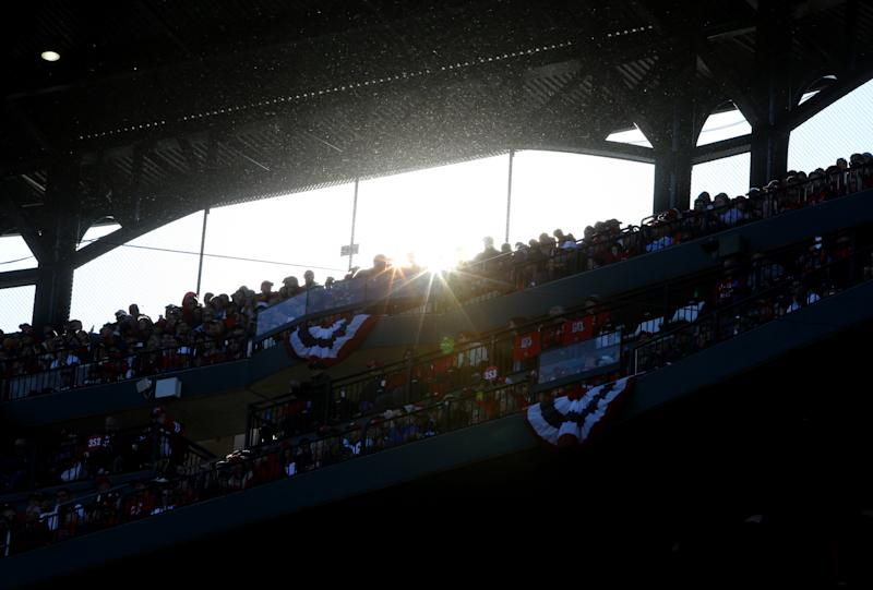 ST LOUIS, MISSOURI - OCTOBER 12: The sun sets at Busch Stadium during game two of the National League Championship Series between the Washington Nationals and the St. Louis Cardinals on October 12, 2019 in St Louis, Missouri. (Photo by Scott Kane/Getty Images)