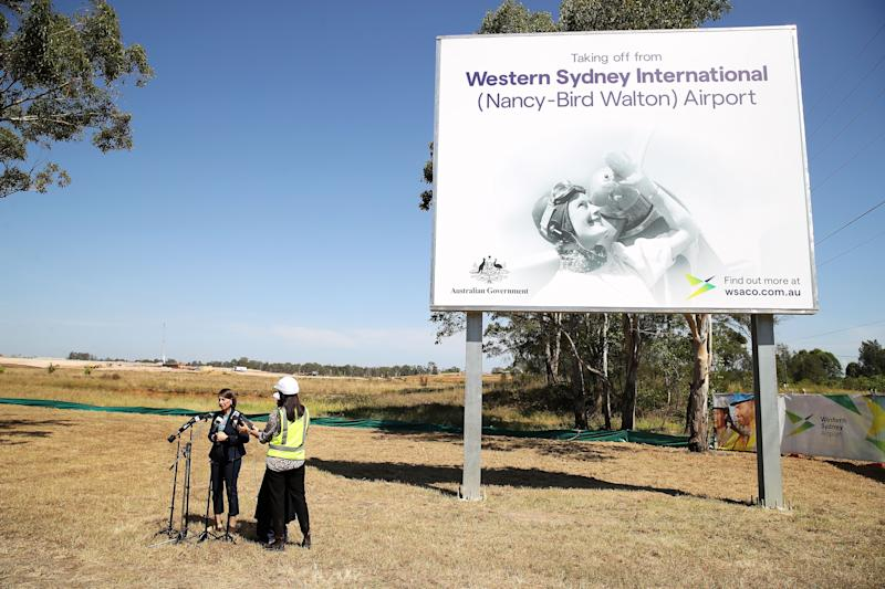 NSW Premier Gladys Berejiklian speaks as she attends the naming of the Western Sydney International Airport at Badgerys Creek, on March 04, 2019.