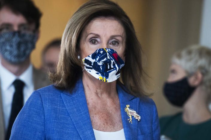 Speaker Nancy Pelosi, D-Calif., is pictured after a television interview in Russell Building on Friday, August 14, 2020. (Photo By Tom Williams/CQ-Roll Call, Inc via Getty Images)