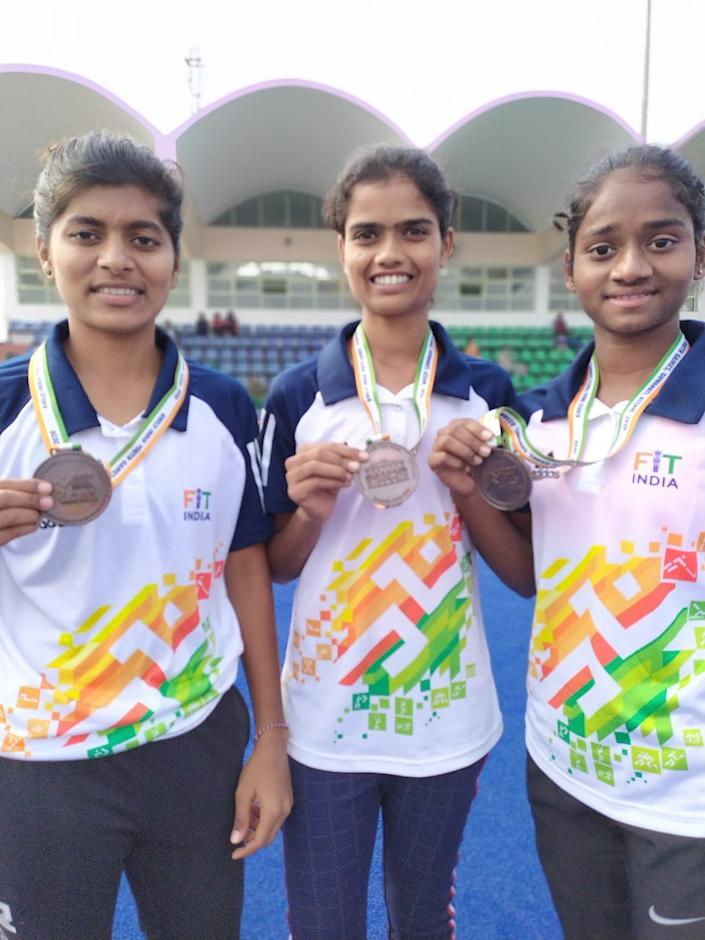 Kajal (extreme Right) won bronze at the recently-held Khelo India Youth Games in Guwahati