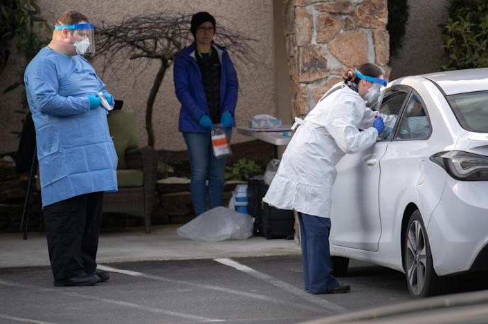 Health workers in Seattle have been testing people at drive-thru facilities: Getty