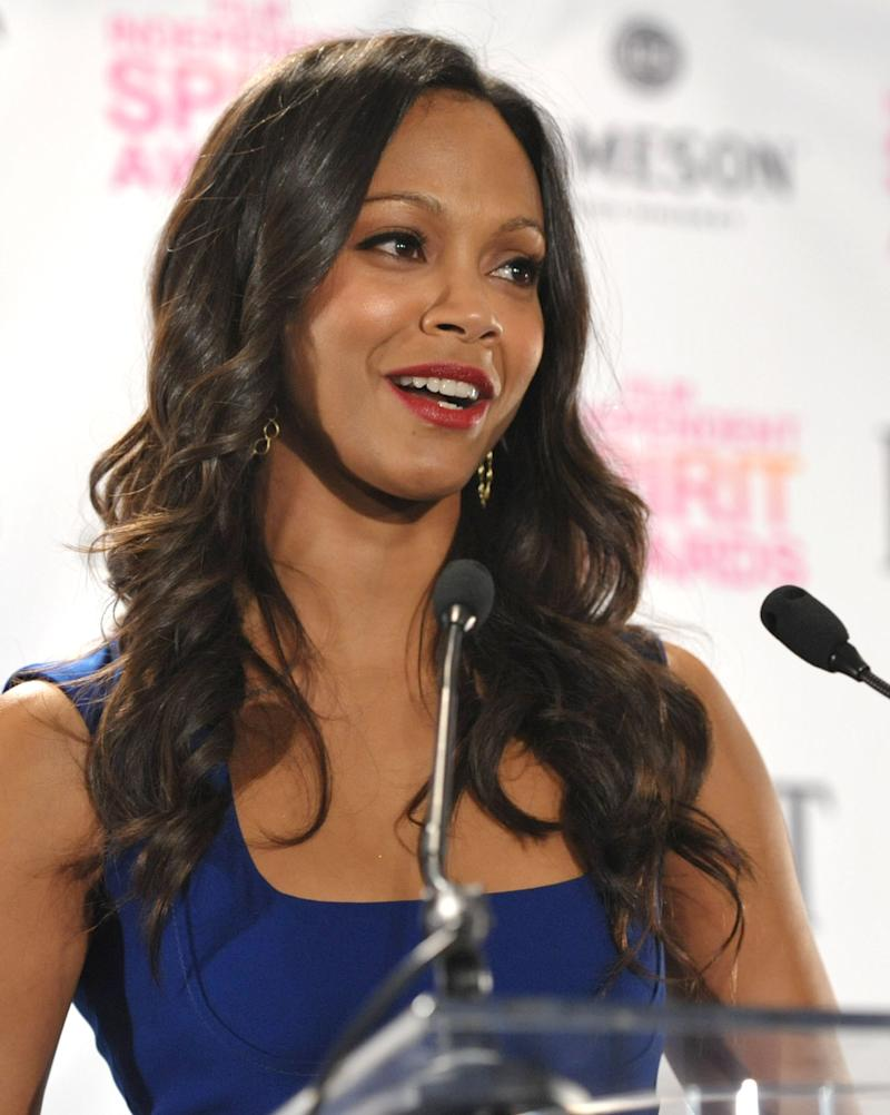 Zoe Saldana appears on stage at the Film Independent Spirit Awards Nominations press conference at The W Hotel Hollywood on Tuesday, Nov. 27, 2012, in Los Angeles. The show will be held on Saturday, February 23, 2012 in the afternoon in a tent on the beach in Santa Monica. (Photo by John Shearer/Invision/AP)