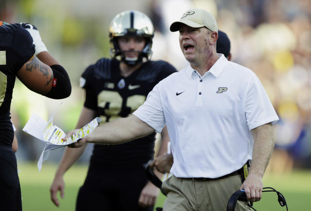 Purdue head coach Jeff Brohm yells to an official during a game early this season. (AP)