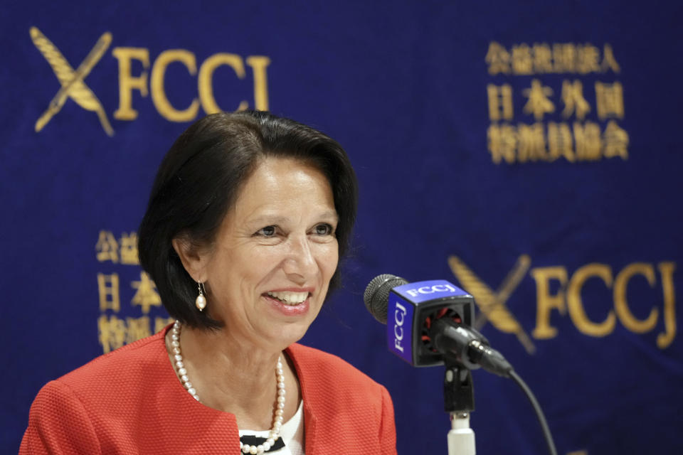 United Nations Secretary General's Special Envoy to Myanmar Christine Schraner Burgener speaks during a press conference Friday, May 28, 2021, in Tokyo. (AP Photo/Eugene Hoshiko)