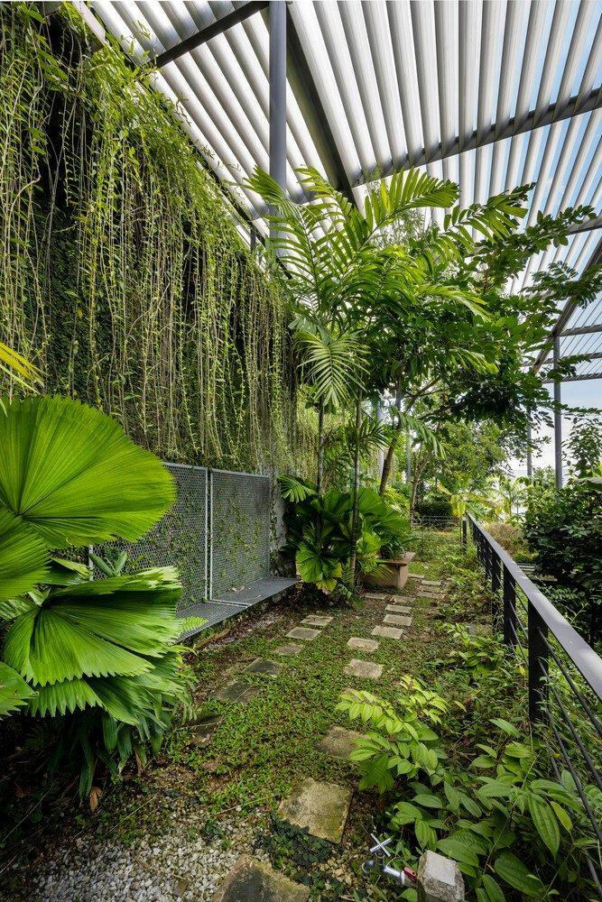 One of several lush courtyards present in Malaysia's new Factory in the Forest