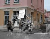 """The combined images suggest Allied soldiers helping civilians remove a German sign from a modern house.<br><br>(<a href=""""http://www.flickr.com/photos/hab3045/collections/72157629378669812/"""" rel=""""nofollow noopener"""" target=""""_blank"""" data-ylk=""""slk:Courtesy of Jo Teeuwisse"""" class=""""link rapid-noclick-resp"""">Courtesy of Jo Teeuwisse</a>)"""