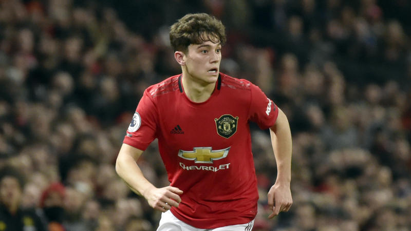 Manchester United's Daniel James during the English Premier League soccer match between Manchester United and Tottenham Hotspur at Old Trafford in Manchester, England, Wednesday, Dec. 4, 2019. (AP Photo/Rui Vieira)