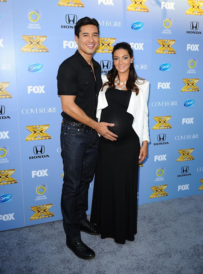 "Mario Lopez and wife Gia Lopez arrive at Fox's ""The X Factor"" Season 3 premiere party at Ciccone Restaurant on September 5, 2013 in West Hollywood, California."