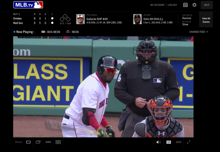 An MLB streaming game window today