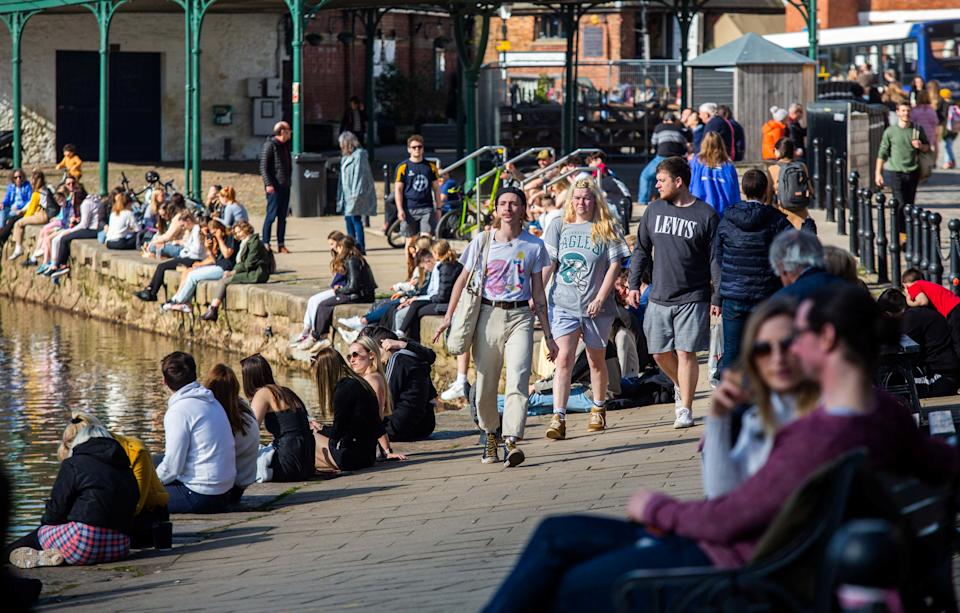 People enjoy the sunshine at the Exeter Quay in Devon. (Getty)