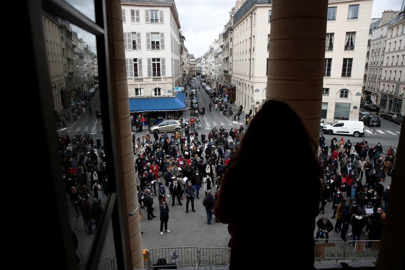 Cultural sector workers occupy the Theatre de l'Odeon in Paris