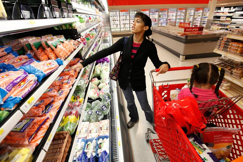 Kolleen Irwin and her daughter Ariel, 3, shop for groceries at a Target store in Philadelphia, Thursday, Oct. 15, 2009. The Labor Department on Thursday said consumer prices rose 0.2 percent last month, matching analysts' expectations. Prices excluding the volatile energy and food categories also rose 0.2 percent. (AP Photo/Matt Rourke)