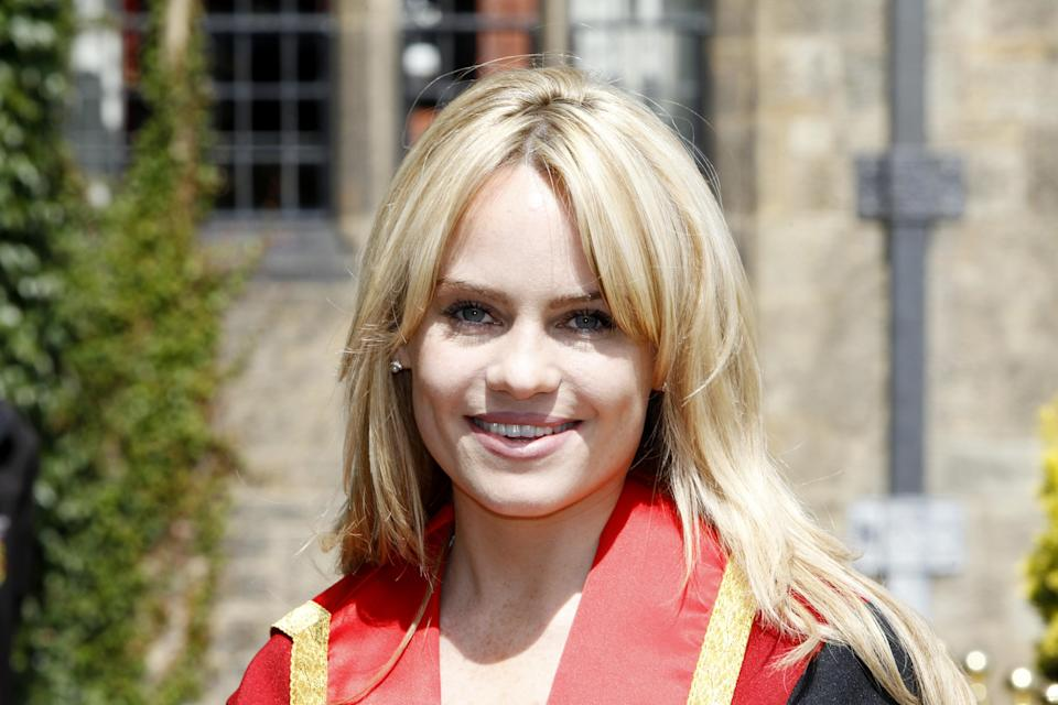Singer, Duffy in her robes prior to receiving an Honorary Fellowship during the Bangor University summer graduation ceremonies.