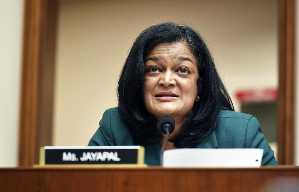 FILE - In this July 29, 2020, file photo Rep. Pramila Jayapal, D-Wash., speaks during a House Judiciary subcommittee on antitrust on Capitol Hill in Washington. (Mandel Ngan/Pool via AP, File)