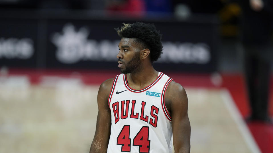 Chicago Bullsf orward Patrick Williams plays during the first half of an NBA basketball game, Sunday, May 9, 2021, in Detroit.
