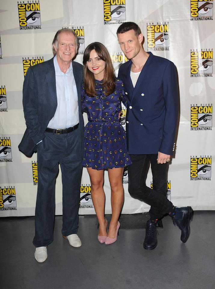 "David Bradley, Jenna Coleman, and Matt Smith at BBC America's ""Doctor Who"" 50th Anniversary panel during Comic-Con International 2013 at San Diego Convention Center on July 21, 2013 in San Diego, California."