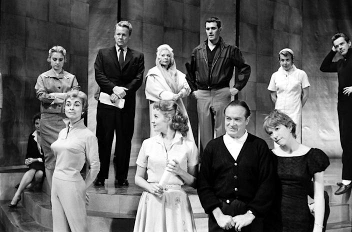 """Top row, from left: Shirley Jones, Van Johnson, Mae West, Rock Hudson, and husband-and-wife dancing team Marge and Gower Champion. Bottom: Janet Leigh, Rhonda Fleming, Bob Hope, and Shirley MacLaine. (Leonard McCombe—TIME & LIFE Pictures/Getty Images) <br> <br> <a href=""""http://life.time.com/culture/oscars-rare-photos-from-academy-award-rehearsals-1958/#1"""" rel=""""nofollow noopener"""" target=""""_blank"""" data-ylk=""""slk:Click here to see the full collection at LIFE.com"""" class=""""link rapid-noclick-resp"""">Click here to see the full collection at LIFE.com</a>"""