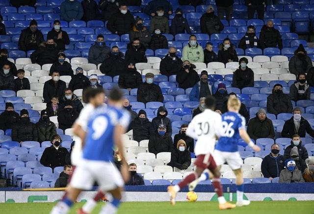 A general view of Everton fans in the stands during a Premier League match at Goodison Park
