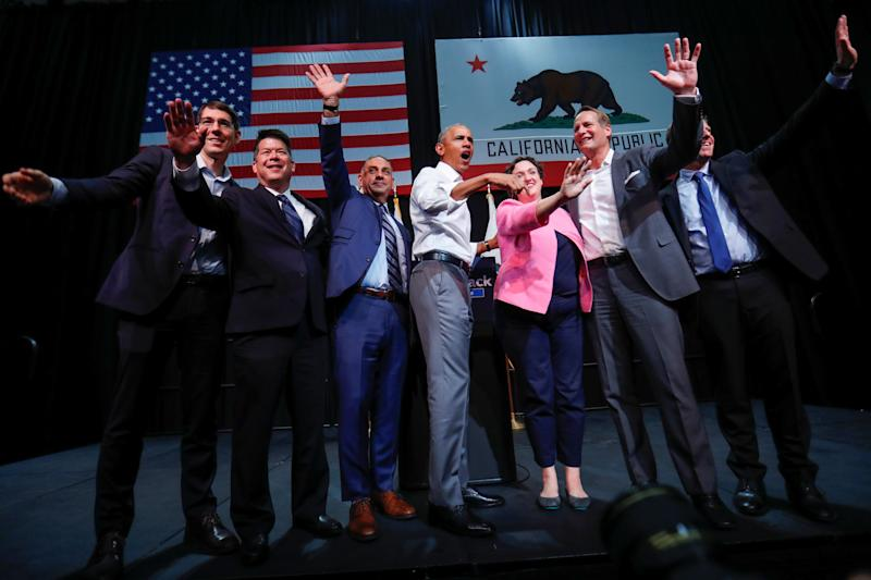 <p>Former U.S. President Barack Obama participates in a political rally for California Democratic candidates during a event in Anaheim, California, U.S., September 8, 2018. Left to right are candidates TJ Cox (CA-21), Gil Cisneros (CA-39), Katie Porter (CA-45), Harley Rouda (CA-48) and Mike Levin (CA-49). REUTERS/Mike Blake</p>