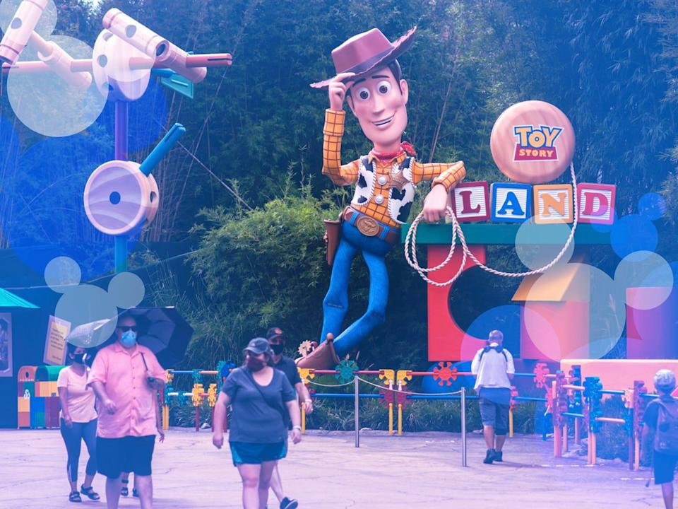 People walking in front of Toy Story Land in Disney World