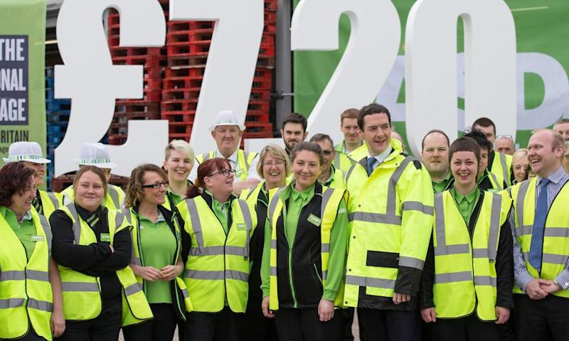 Former chancellor George Osborne publicises the national living wage at Asda in April 2016.