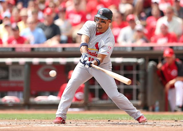 CINCINNATI, OH - AUGUST 26: Rafael Furcal #15 of the St. Louis Cardinals swings at a pitch during the game against the Cincinnati Reds at Great American Ball Park on August 26, 2012 in Cincinnati, Ohio. (Photo by Andy Lyons/Getty Images)