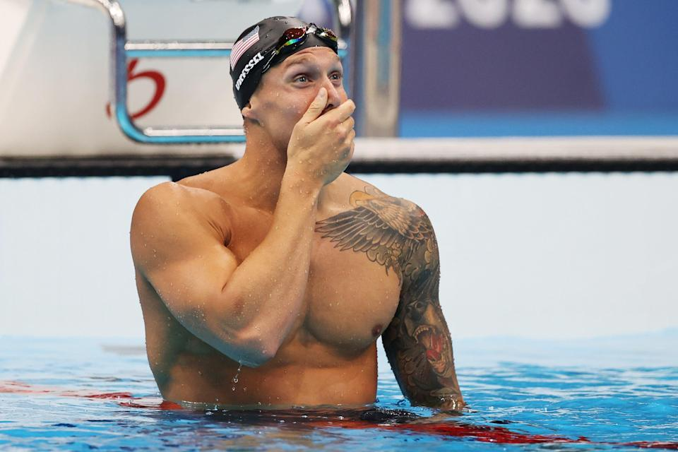 Caeleb Dressel of Team United States reacts after winning the gold medal in the Men's 100m Freestyle Final on day six of the Tokyo 2020 Olympic Games at Tokyo Aquatics Centre on July 29, 2021 in Tokyo, Japan. (Getty Images)