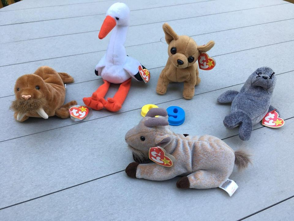 <p>Find '90s Beanie Babies on eBay, like these <span>1999 Beanie Babies<br> </span> ($6 each), for a trip down memory lane. </p>