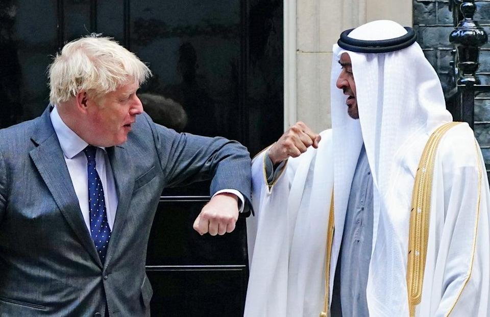 Prime Minister Boris Johnson welcomes Sheikh Mohammed bin Zayed Al Nahyan, Crown Prince of the Emirate of Abu Dhabi, to 10 Downing Street (PA) (PA Wire)