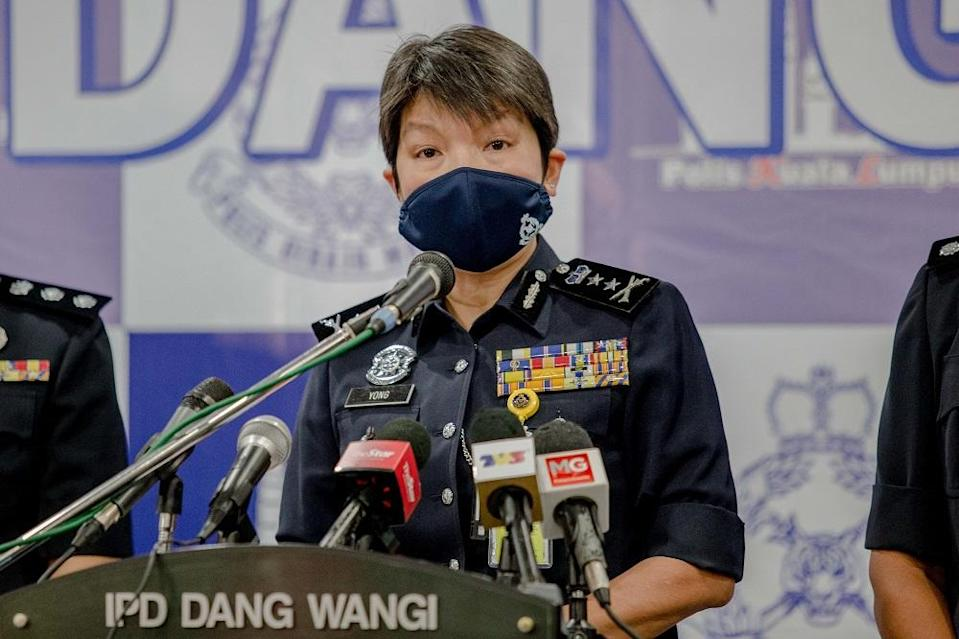 Kuala Lumpur police deputy chief Datuk Yong Lei Choo speaks during a press conference at the Dang Wangi district police headquarters in Kuala Lumpur January 20, 2021. — Picture by Firdaus Latif