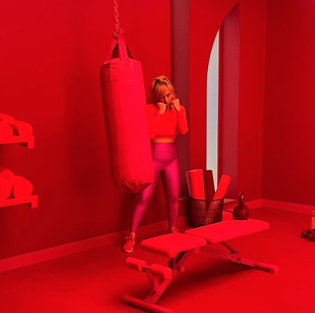 Rebel Wilson in a red room with workout equipment on Instagram
