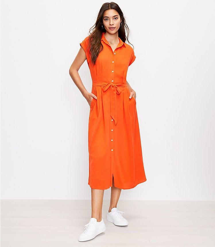 <p>We love that this <span>Loft Belted Pocket Midi Shirtdress</span> ($98) has pockets.</p>