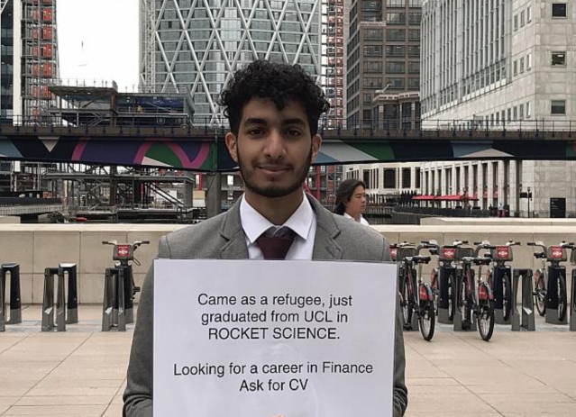 <em>Mary Engleheart tweeted a picture of refugee graduate Mohamed who is searching for a job (Picture: Twitter/Mary Engleheart)</em>
