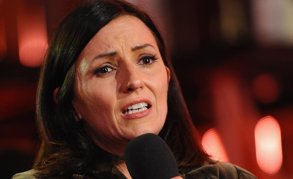 Davina McCall weeps as she presents the final of Ultimate Big Brother on September 10, 2010 in Borehamwood, England.  (Photo by Ian Gavan/Getty Images)