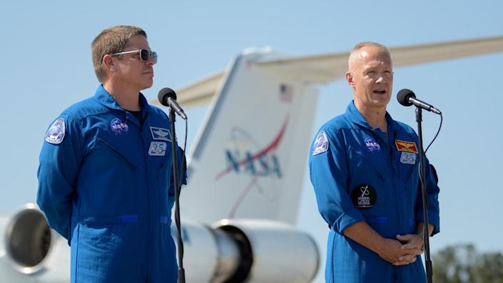 Behnken (L) and Hurley (R) flew in from the Johnson Space Center in Texas