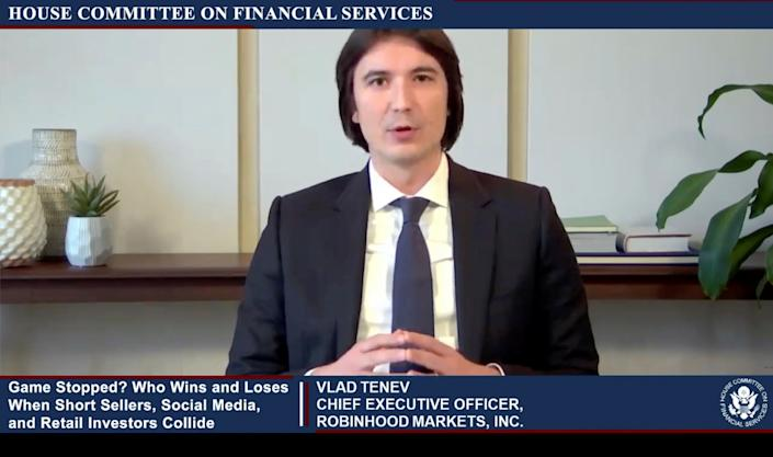 """Vlad Tenev, CEO of Robinhood Markets, is seen testifying about GameStop trading in a frame grab from video during an entirely virtual hearing of the U.S. House of Representatives Committee on Financial Services entitled """"Game Stopped? Who Wins and Loses When Short Sellers, Social Media, and Retail Investors Collide?"""", in Washington, U.S., February 18, 2021.   House Committee on Financial Services/Handout via Reuters"""