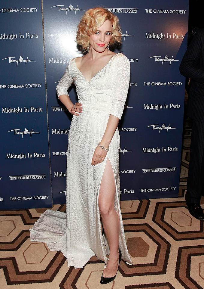"""After making the rounds in Cannes, Rachel McAdams returned to NYC for a screening of her new film, """"Midnight in Paris,"""" where she looked like a modern-day Marilyn Monroe thanks to her bombshell-blond locks and Louis Vuitton gown -- despite her dowdy black pumps. Charles Eshelman/<a href=""""http://filmmagic.com/"""" target=""""new"""">FilmMagic.com</a> - May 17, 2011"""