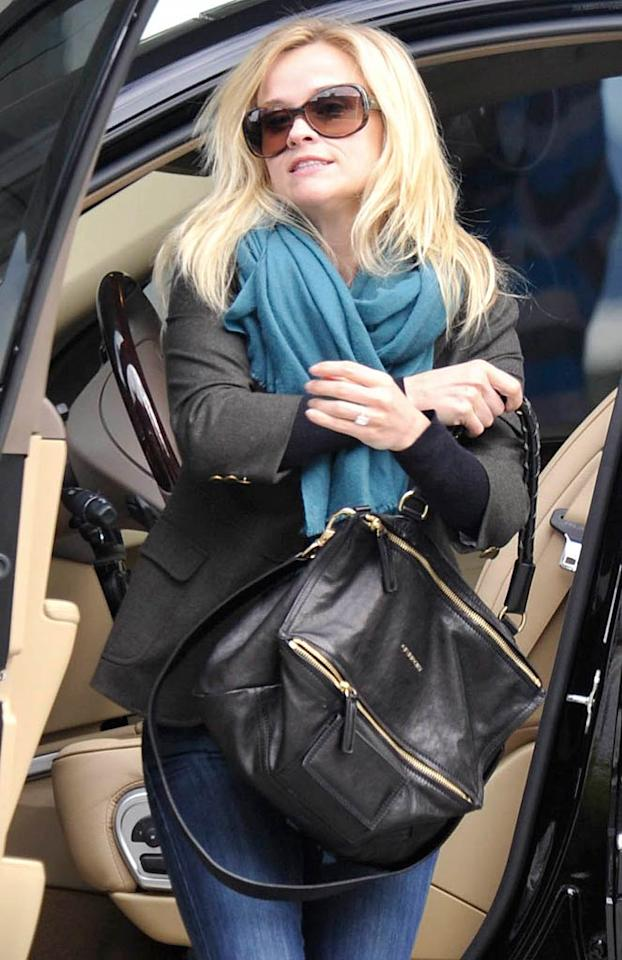 """<i>Star</i> reports that Reese Witherspoon may be pregnant. According to the magazine, the mother of two has """"a noticeably rounded belly,"""" and was recently """"spotted buying a home pregnancy test in a Brentwood, California, CVS pharmacy."""" For when the Oscar-winning actress is due, check out what a Witherspoon confidante reveals to <a href=""""http://www.gossipcop.com/reese-witherspoon-pregnant-baby-expecting-third-child/"""" target=""""new"""">Gossip Cop</a>. London Entertainment/<a href=""""http://www.splashnewsonline.com"""" target=""""new"""">Splash News</a> - January 6, 2011"""