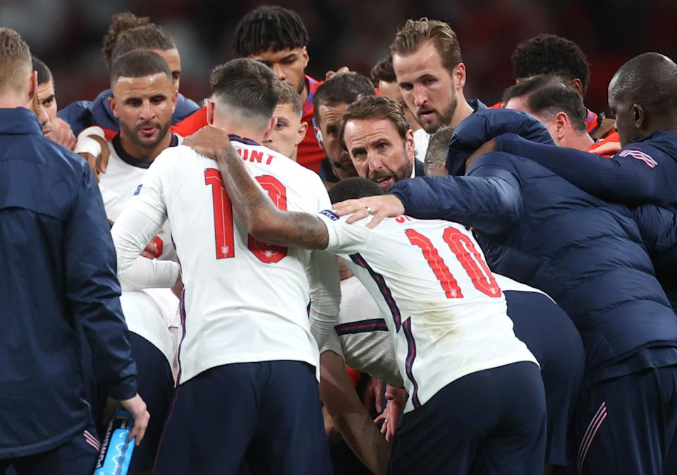 England will play for its first major trophy in 55 years on Sunday in the Euro 2020 final. (REUTERS/Carl Recine)