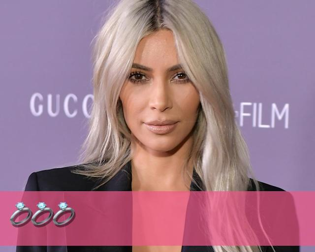 "<p><strong>Engagements:</strong> 3<br><strong>Marriages:</strong> 2<br><strong>Current status:</strong> <a href=""https://www.yahoo.com/entertainment/blogs/celeb-news/it-s-official--kim-kardashian-and-kanye-west-are-married-145749763.html"" data-ylk=""slk:Married rapper Kanye West"" class=""link rapid-noclick-resp"">Married rapper Kanye West</a> in May 2014.<br>(Photo: Getty Images) </p>"