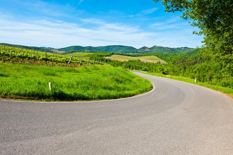 A bend in a paved road in the sunny Italian countryside.