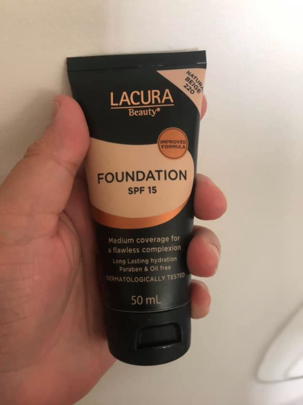 Lacura Beauty Foundation from Aldi being held