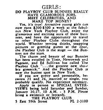 The job listing for the Playboy Club that Gloria Steinem answered in 1963.