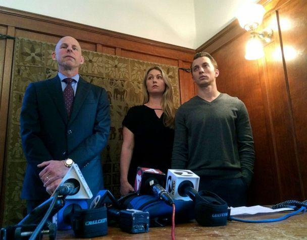 PHOTO: In this Sept. 29, 2016, file photo, attorney Anthony Douglas Rappaport, left, speaks at a news conference with his clients, Denise Huskins and her boyfriend Aaron Quinn, right, in San Francisco. (Sudhin Thanawala/AP, FILE)