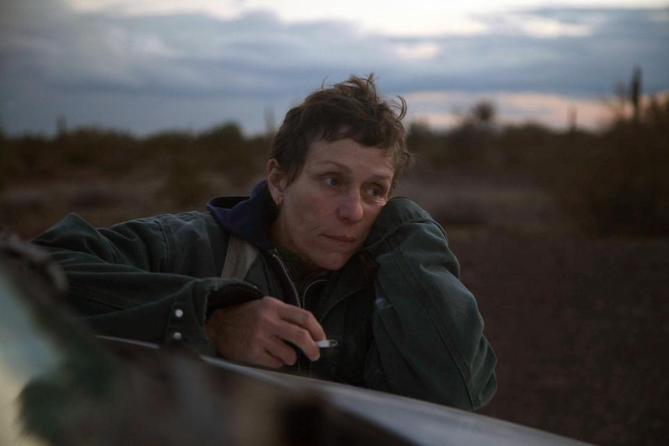 """<p><em>Nominated for: Best Motion Picture–Drama; Best Director–Motion Picture (Chloé Zhao); Best Actress in a Motion Picture–Drama (Frances McDormand); Best Screenplay–Motion Picture (Chloé Zhao)</em></p> <p>After losing everything, a woman decides to embrace the nomadic lifestyle and sets off on a road trip through the American West, living out of her van.</p> <p><a href=""""https://cna.st/affiliate-link/ggEqDMbDf4ZuEnnfDYeTGACEpjPmjYXGi9HjAQk8X1gnXascPeztCiiNKiUiaQAYvry9xi3UzWvQfYEqVoWntGXfLFaJXyNb3jGBFU3Guv4v3XxmJUdEtTbGfZfJPNp3VRi8ZQitxvE?cid=5fb2e7773fda3a9c1bd8064c"""" rel=""""nofollow noopener"""" target=""""_blank"""" data-ylk=""""slk:Watch now on Hulu"""" class=""""link rapid-noclick-resp""""><em>Watch now on Hulu</em></a></p>"""
