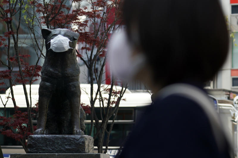 """A statue of a Japanese Akita dog named """"Hachiko"""" wearing a face mask is seen near Shibuya Station Wednesday, April 8, 2020, in Tokyo. Japanese Prime Minister Shinzo Abe declared a state of emergency on Tuesday for Tokyo and six other prefectures to ramp up defenses against the spread of the new coronavirus. Hachiko has waited for his owner University of Tokyo Prof. Eizaburo Ueno at the same place by the station every afternoon, expecting him to return home for nearly 11 years even after Ueno's death at work. (AP Photo/Eugene Hoshiko)"""