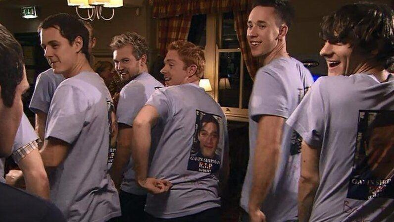 Gavin's friends assemble for his second stag night in the third series of 'Gavin & Stacey'. (Credit: BBC)